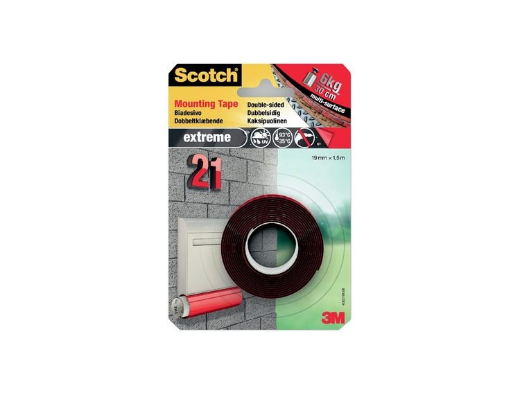 3M Monteringstape ekstrem 19 mm x 1,5 m Scotch 40021915