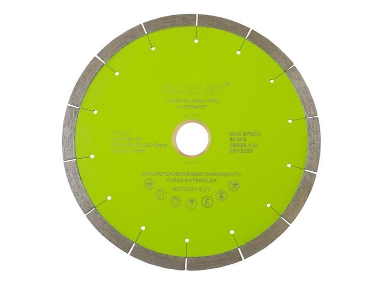 Diamantblad segment 200/30-25,4 mm Bosun Pro Grønn