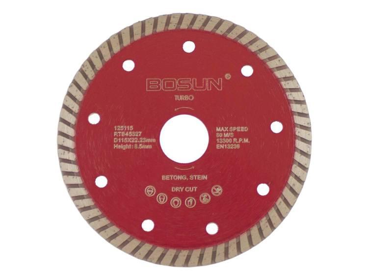 Diamantblad turbo 115/22,2 mm Bosun Rød