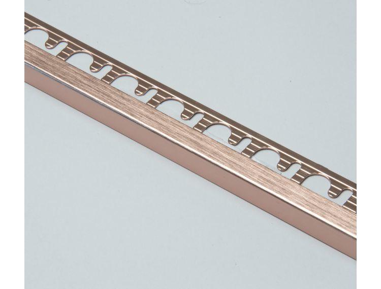 Projolly firkant Symetriclist børstet kobber alu 8 mm 270 cm