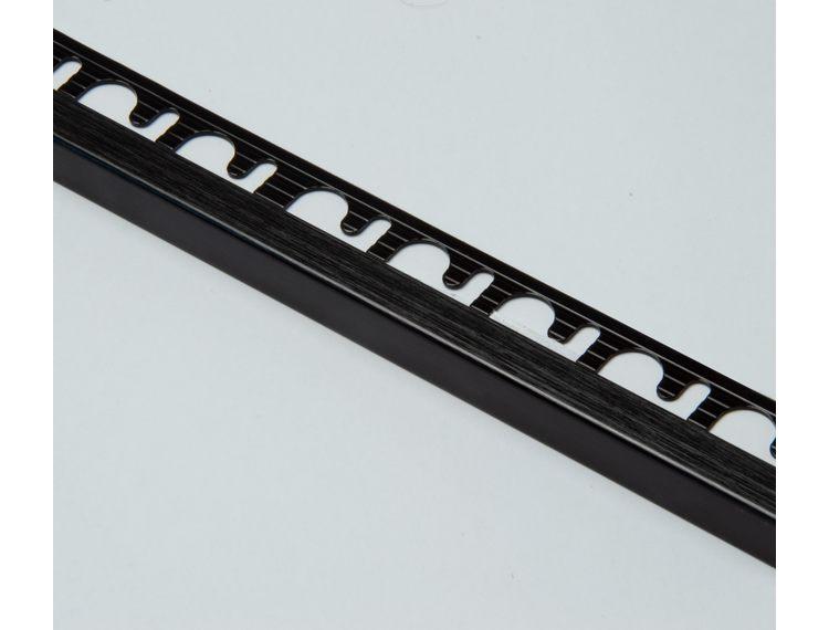 Projolly firkant Symetriclist børstet sort alu 12,5 mm 270 cm