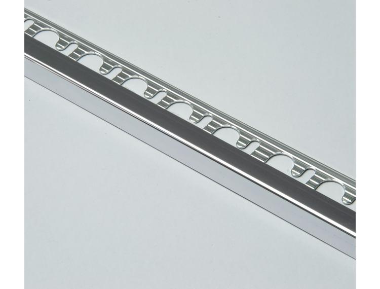 Projolly firkant Symetriclist krom alu 12,5 mm 270 cm
