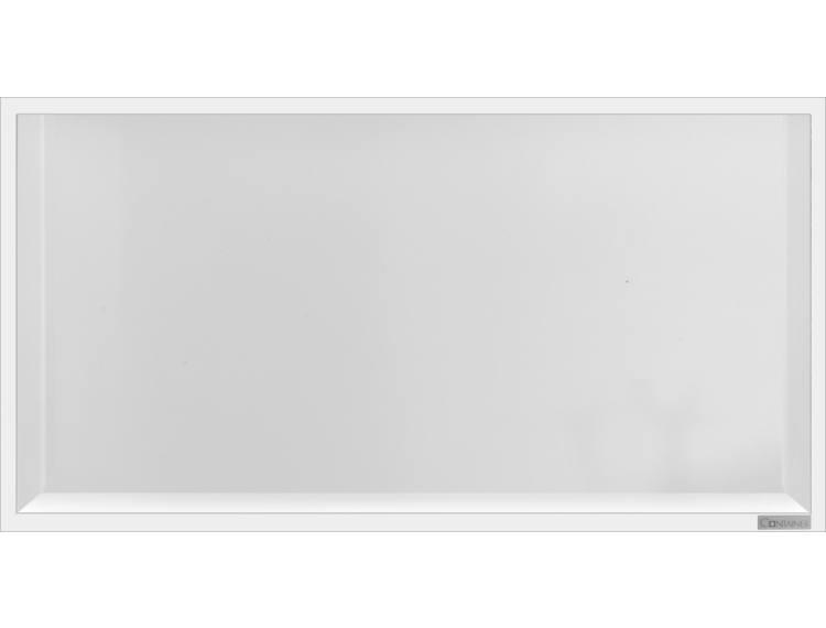 ESS Container Box10 veggnisje hvit,ramme polert stål 60x30x10 cm