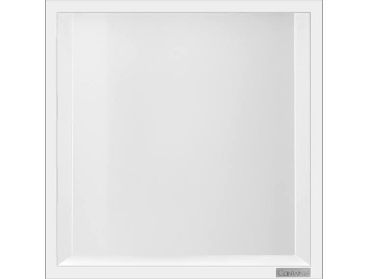 ESS Container Box10 veggnisje hvit, ramme polert stål 30x30x10 cm