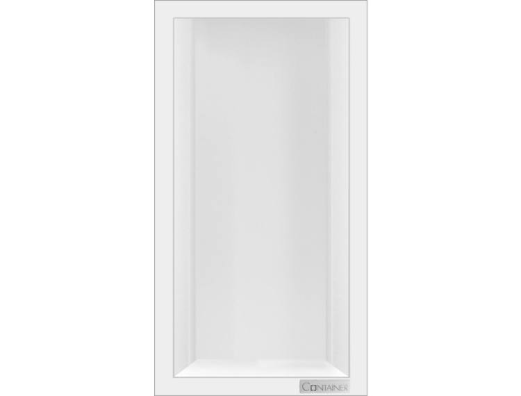 ESS Container Box10 veggnisje hvit, ramme polert stål 15x30x10 cm