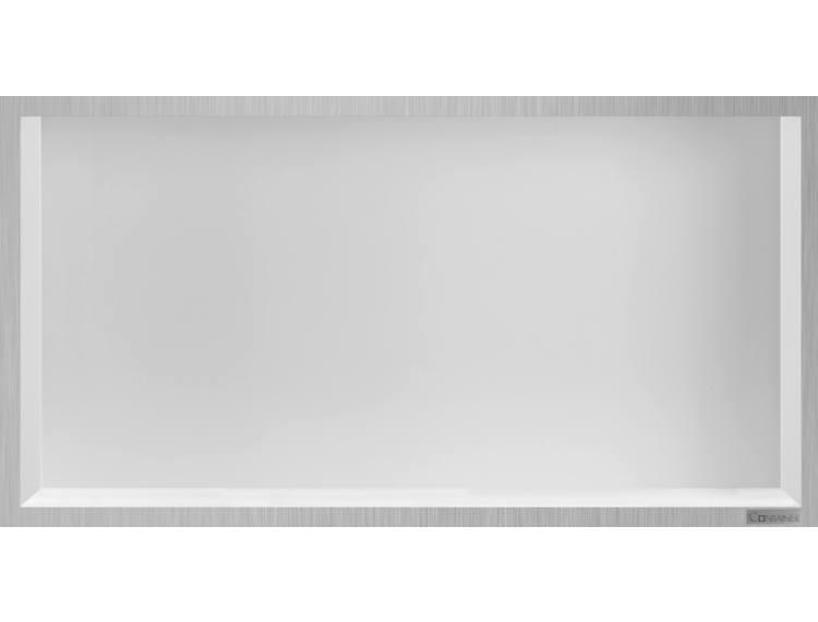 ESS Container Box10 veggnisje hvit,ramme børstet stål 60x30x10 cm