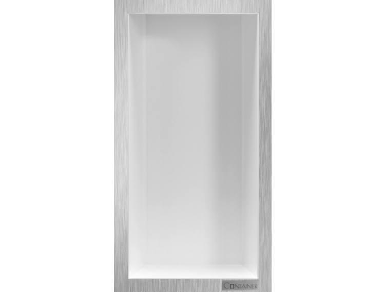 ESS Container Box10 veggnisje hvit,ramme børstet stål 15x30x10 cm