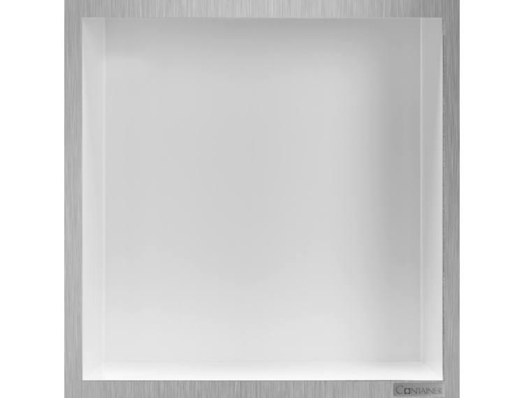 ESS Container Box10 veggnisje hvit,ramme børstet stål 30x30x10 cm