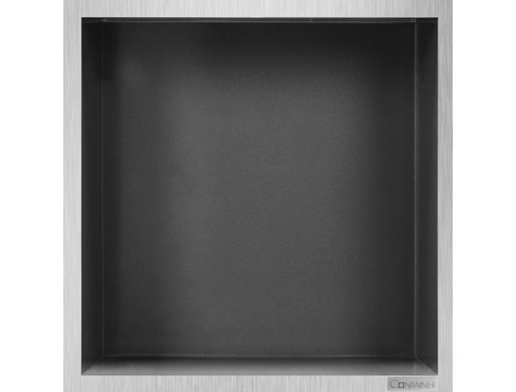 ESS Container Box10 veggnisje antrasitt, ramme børstet stål 30x30x10 cm