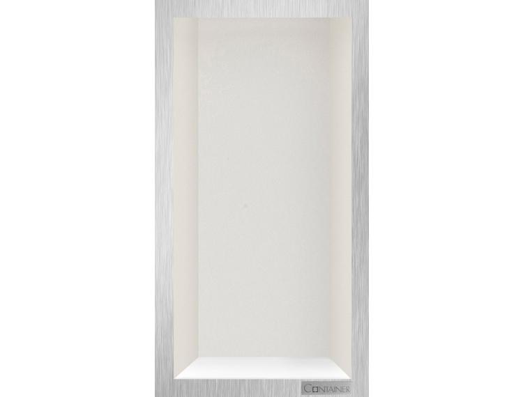 ESS Container Box10 veggnisje krem, ramme børstet stål 15x30x10 cm
