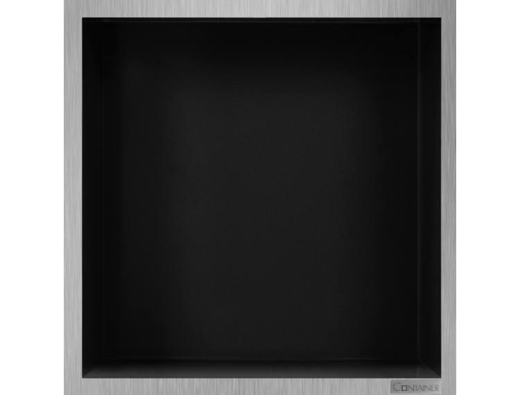 ESS Container Box10 veggnisje sort,ramme børstet stål 30x30x10 cm