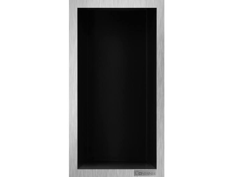 ESS Container Box10 veggnisje sort,ramme børstet stål 15x30x10 cm