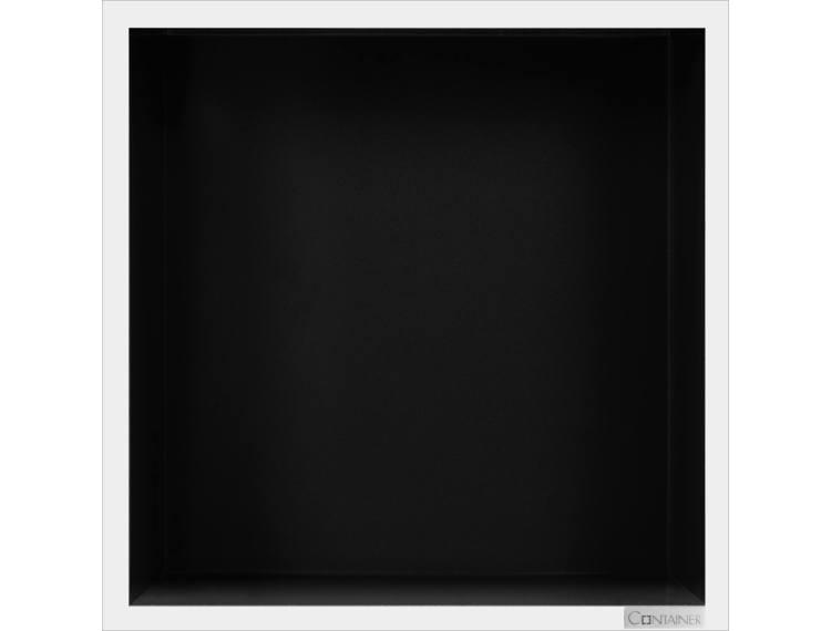 ESS Container Box10 veggnisje sort,ramme polert stål 30x30x10 cm