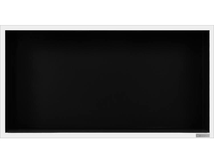 ESS Container Box10 veggnisje sort,ramme polert stål 60x30x10 cm