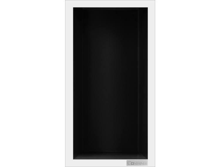 ESS Container Box10 veggnisje sort,ramme polert stål 15x30x10 cm