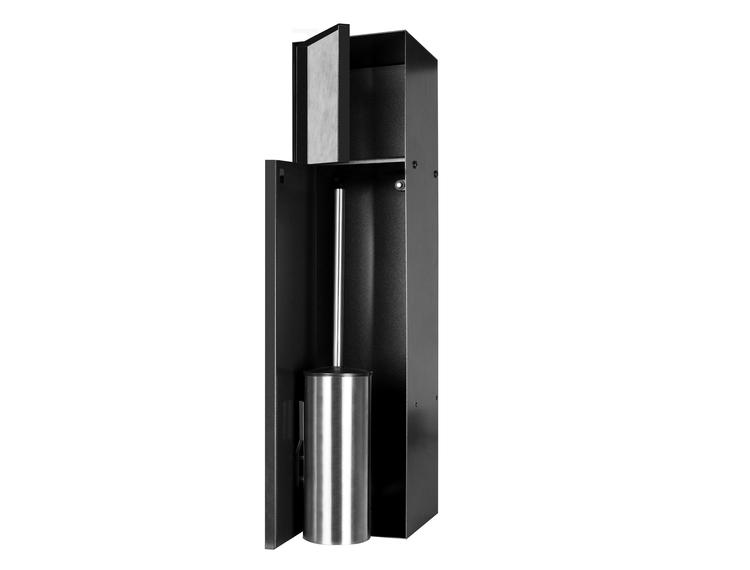 ESS Container T-Roll sort med WC papir holder og børste,med 2 dører for flis