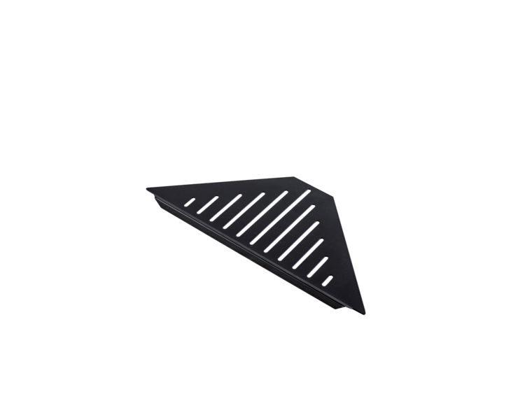 Design hjørnehylle N°3 for dusj 1mm, sort matt stål
