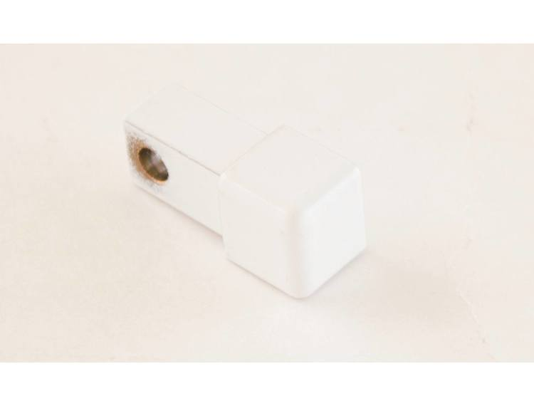 Projolly firkant Symetric hjørnestk hvit alu 12,5 mm 2pk.