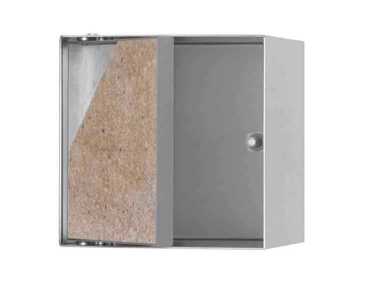 ESS Container T-Roll  børstet stål 15x15 cm,oppbevaring, med dør for flis