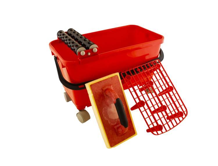 Vaskerullesett BILLI 24 l m/rist, svamp, vaskerull og hjul