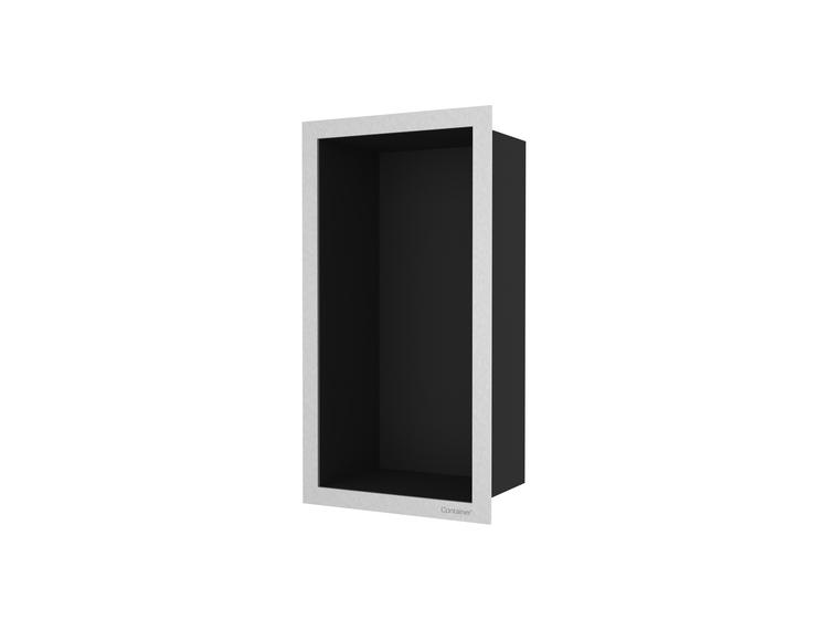 ESS Container F-box veggnisje sort, ramme børstet stål 15x30x10 cm