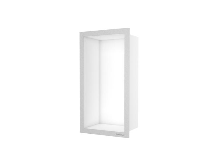 ESS Container F-box veggnisje hvit, ramme børstet stål 15x30x10 cm