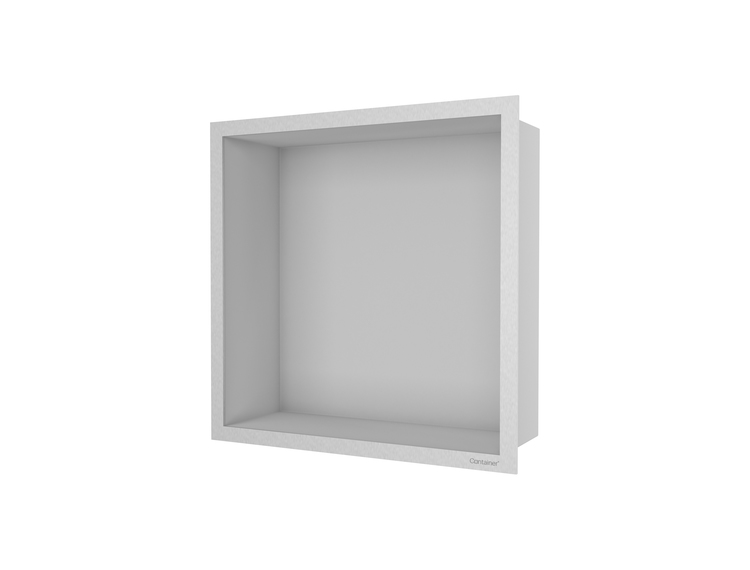 ESS Container F-box veggnisje børstet stål, ramme børstet stål 30x30x10 cm