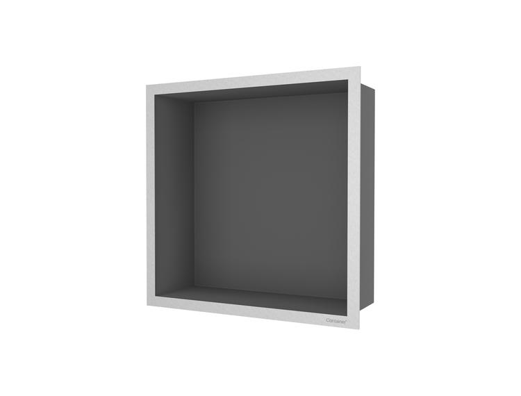 ESS Container F-box veggnisje antrasitt, ramme børstet stål 30x30x10 cm