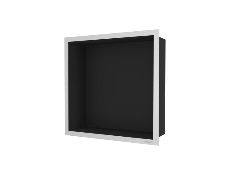 ESS Container F-box veggnisje sort, ramme børstet stål 30x30x10 cm