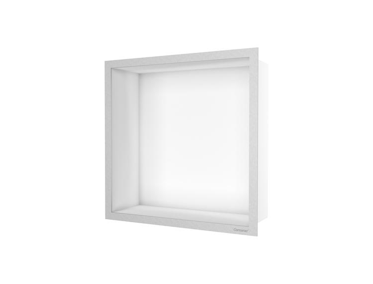 ESS Container F-box veggnisje hvit, ramme børstet stål 30x30x10 cm
