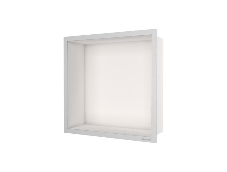 ESS Container F-box veggnisje krem, ramme børstet stål 30x30x10 cm