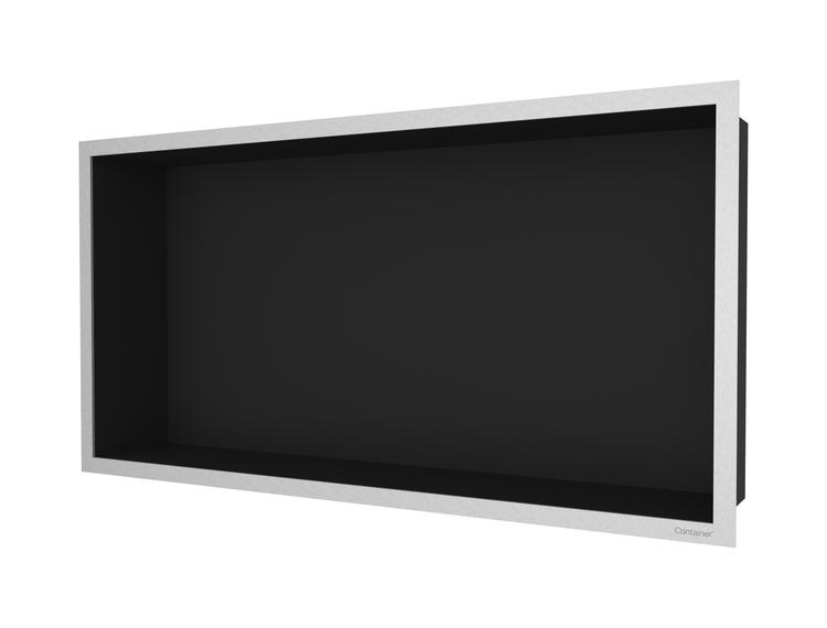 ESS Container F-box veggnisje sort, ramme børstet stål 60x30x10 cm
