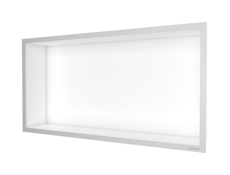 ESS Container F-box veggnisje hvit, ramme børstet stål 60x30x10 cm