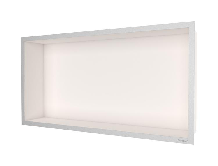 ESS Container F-box veggnisje krem, ramme børstet stål 60x30x10 cm